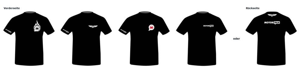 Motive der MOTOR-TALK Fantreffen-T-Shirt. Vorderseite und Rückseite